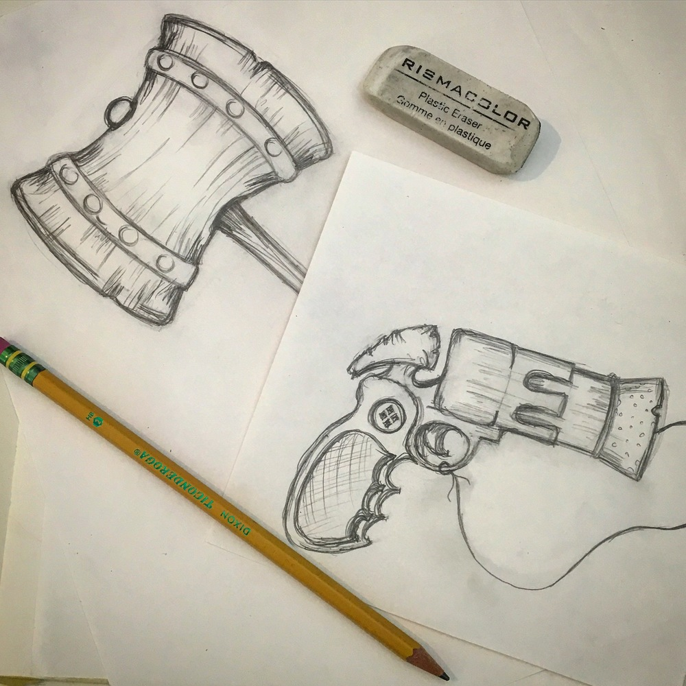 Harley Quinn's Hammer and Cork Gun Sketch