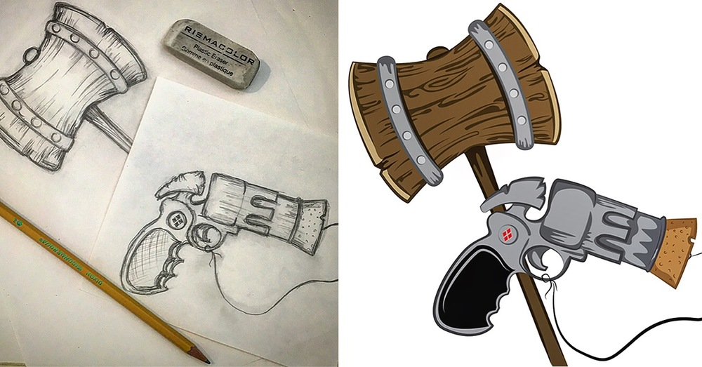 Harley Quinn Hammer and Cork Gun Sketch and Vector File