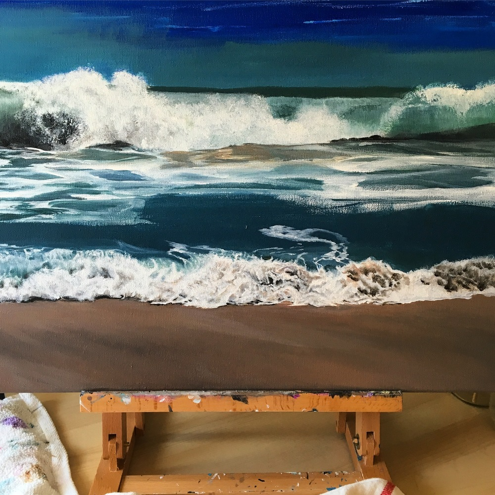 Ocean Waves Beach Painting Acrylic on Canvas Jlane Design
