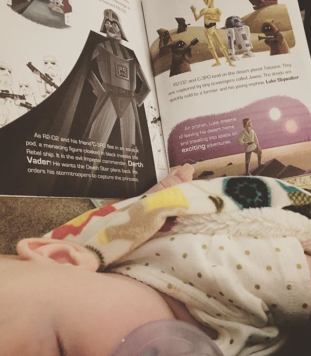 Never too young for Star Wars bedtime stories.  #jlanedesign #graphicdesign #artist #mom #futurejedi #starwars #newhope #bedtimestories #littlerebel #littlegoldenbooks