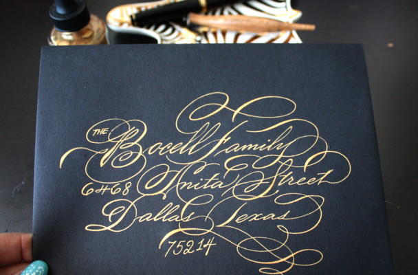 """I cannot say enough nice things about Schin and her style of calligraphy. She was overly accomodating to my ""bridal worries"" (lol) and guests called/emailed from all other boasting about the calligraphy!! I would absolutely recommend :)"" -Elizabeth Arking"