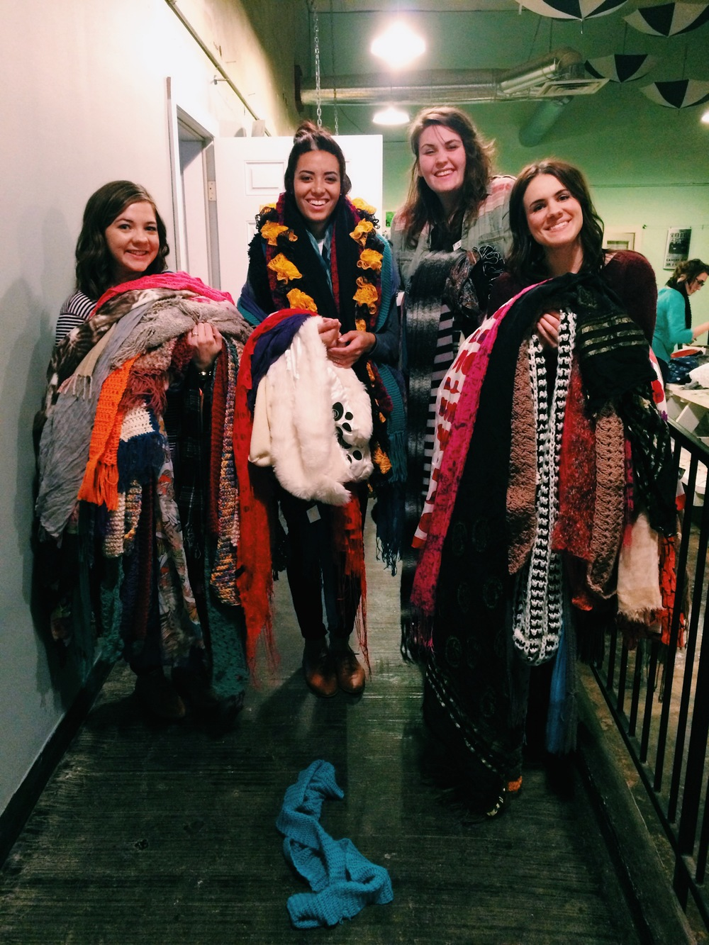 We asked everyone who came to the gathering to bring a coat or scarf, to donate to The Lovewell! Everyone was EXTREMELY generous, I've never seen so many scarves and coats!