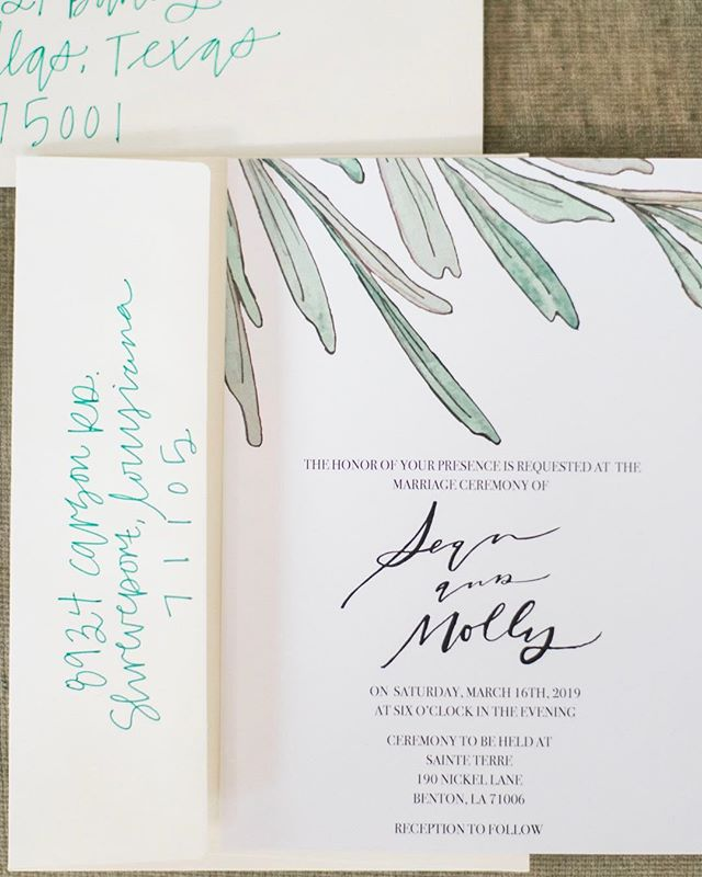 This wedding suite was one of my favorites to work on! I love the simplicity and mix of hand done elements throughout! I watercolored the greenery and names and then digitized them to use, on the other pieces of the suite!  #watercolor #handmade #custom #custominvitations #customwatercolor #customatationary #paper #stationary #art #paint #paperthings #watercolour #painting #goodmorning_art #instagood #instadaily #daily #artistic #buzzfeedart #wewholeart #artistic_nation