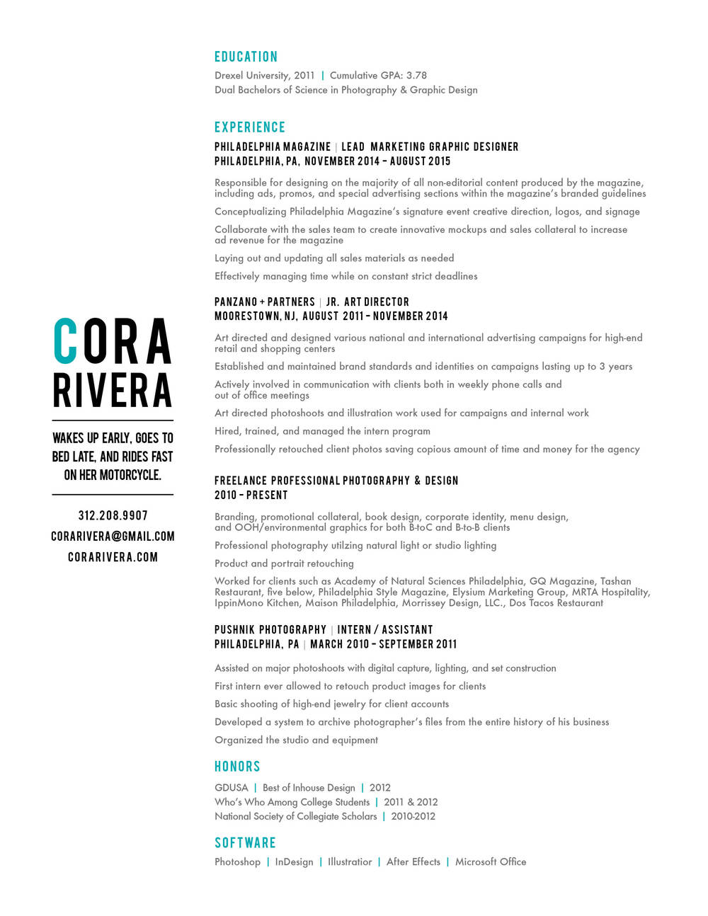 resume for photographer lance professional creative online resume for photographer lance professional resume cora rivera about resume