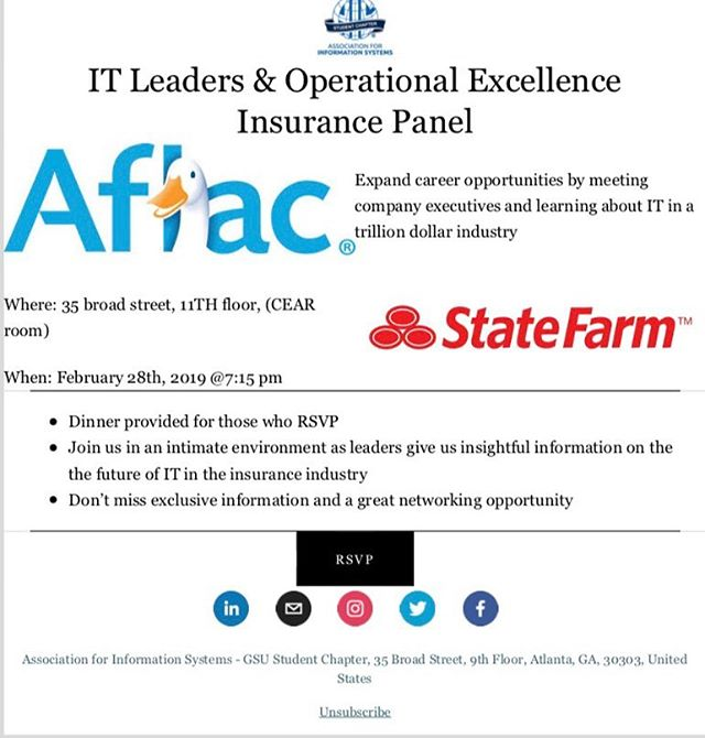 Join us next week, February 28th @ 7:15pm, for our insurance panel event with Aflac and Statefarm!