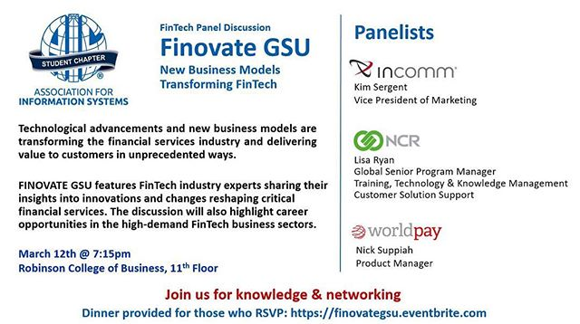 Join us next Tuesday as we have Finovate GSU. It will be a panel discussion with InComm, NCR, and Worldpay!