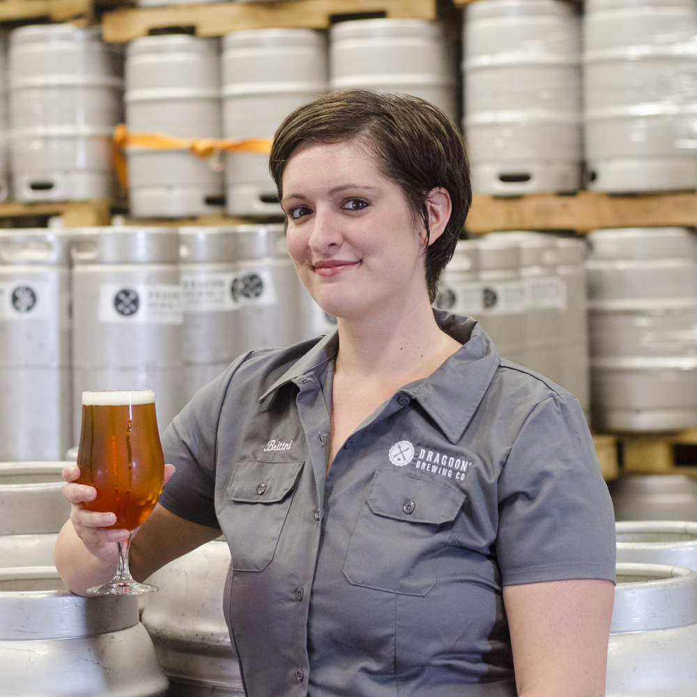 BRITTNI RAWLINS PACKAGING PERSONNEL Brittni is most enthusiastic whether it's homebrewing, kickball, trivia, or packaging your Dragoon IPA. She's also working on her badass beer bucket list.