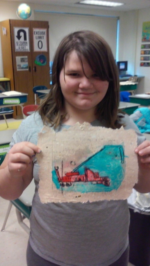 "Truck print,  5th grade, Plexiglas etching on handmade paper ,8""x 10"" Students learned about physics while making paper and pulling prints"