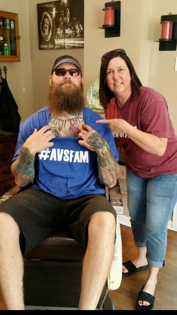 Scott Parker at his shop  lucky27socialclub  .com/  Rocking the #AvsFam shirt!