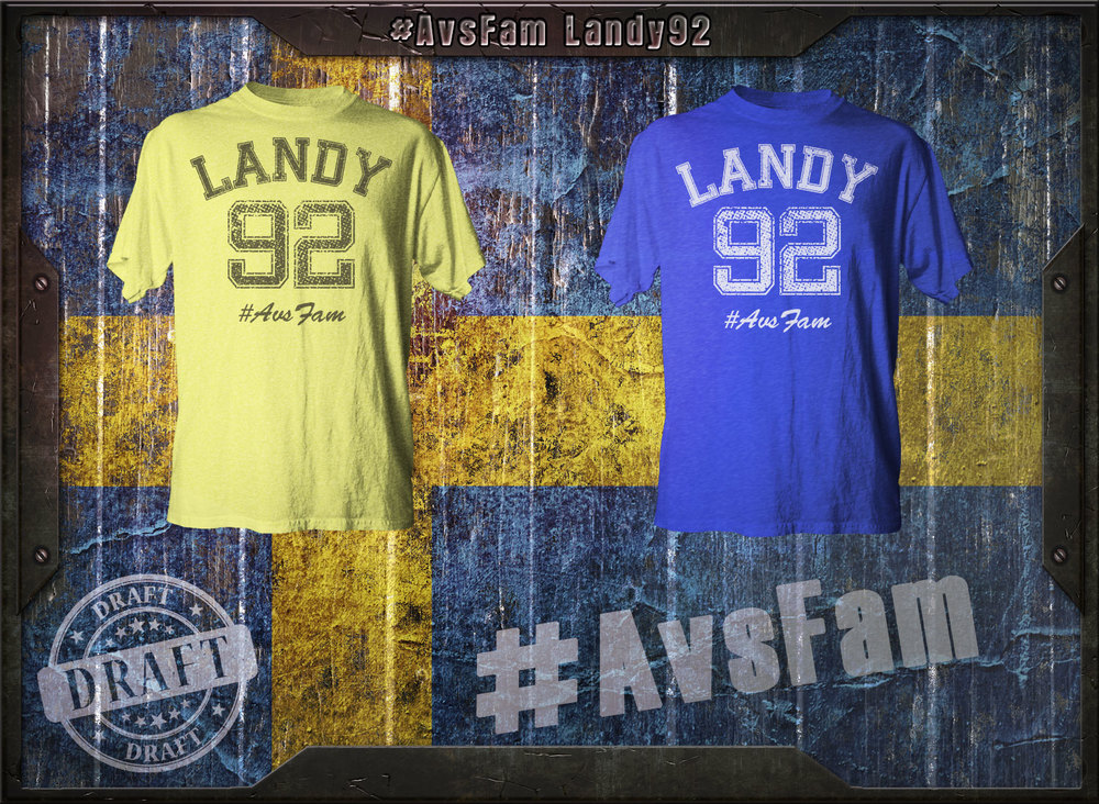 "The Landy 92 is the first in an idea for a collection of shirts using players knick-names and numbers in a ""Property of"" style shirt. But, in true #AvsFam style brining some person elements into the design such as the color of the shirt representing Landy's heritage. It's a work in progress. Let us know if you like it."