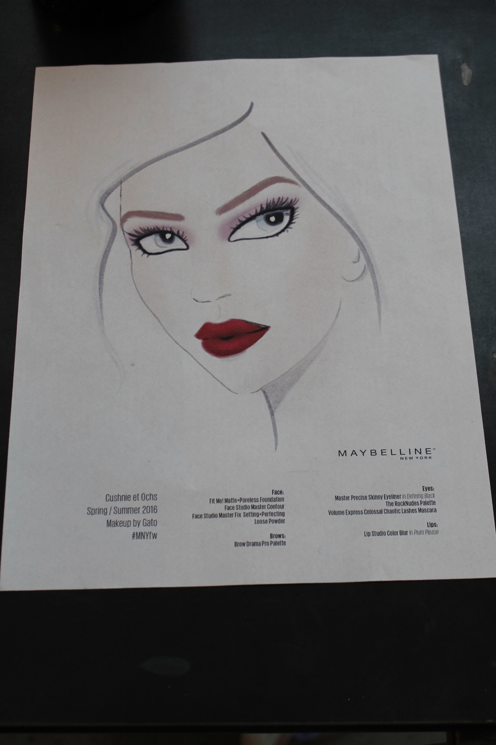 Maybelline New York makeup inspo sketch spotted backstage at Cushnie Et Ochs