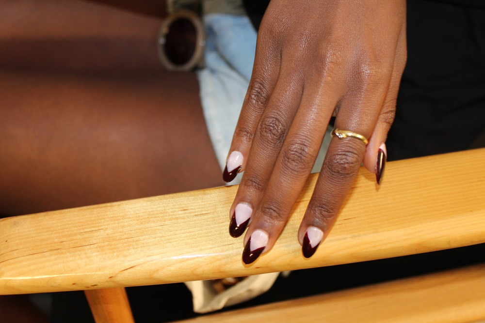Louboutin lacquer dipped nails backstage at Cushnie Et Ochs.