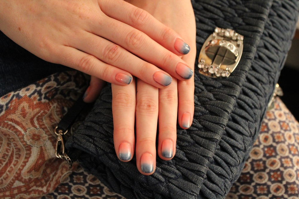 A beautiful burst of color on the nails created using essie polishes backstage at Rebecca Minkoff.