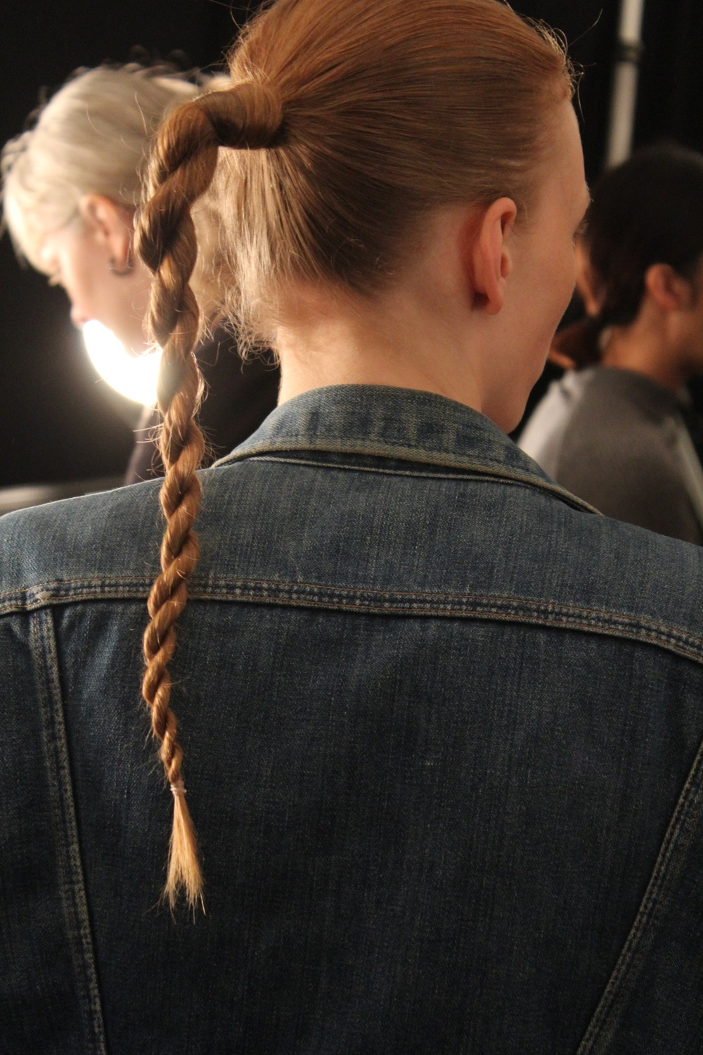 Warrior braided pony's with an urbanely chic twist created by Tippi Shorter for Aveda backstage at Public School.