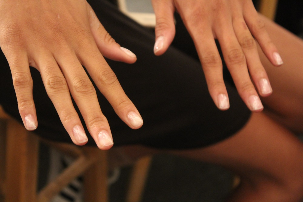Feathered nude nail look created by Deborah Lipmann backstage at Public School.