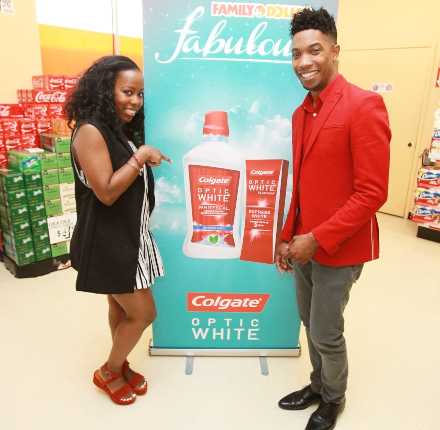 Celebrity makeup artist, AJ Crimsonand I showing off our pearly whites at one Family Dollar's Bronx locations.