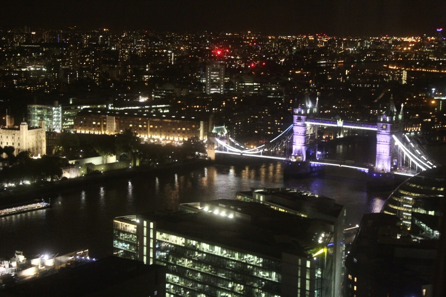 A stunning view from The Shard overlooking London from above.