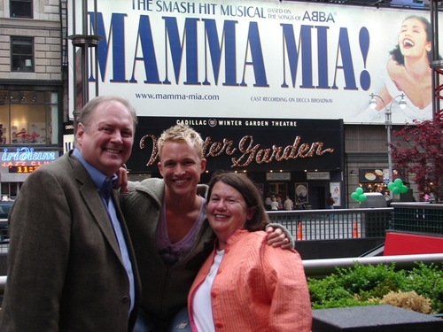 Mom and Dad visiting Ryan at the Winter Garden Theater during his run in Mamma Mia