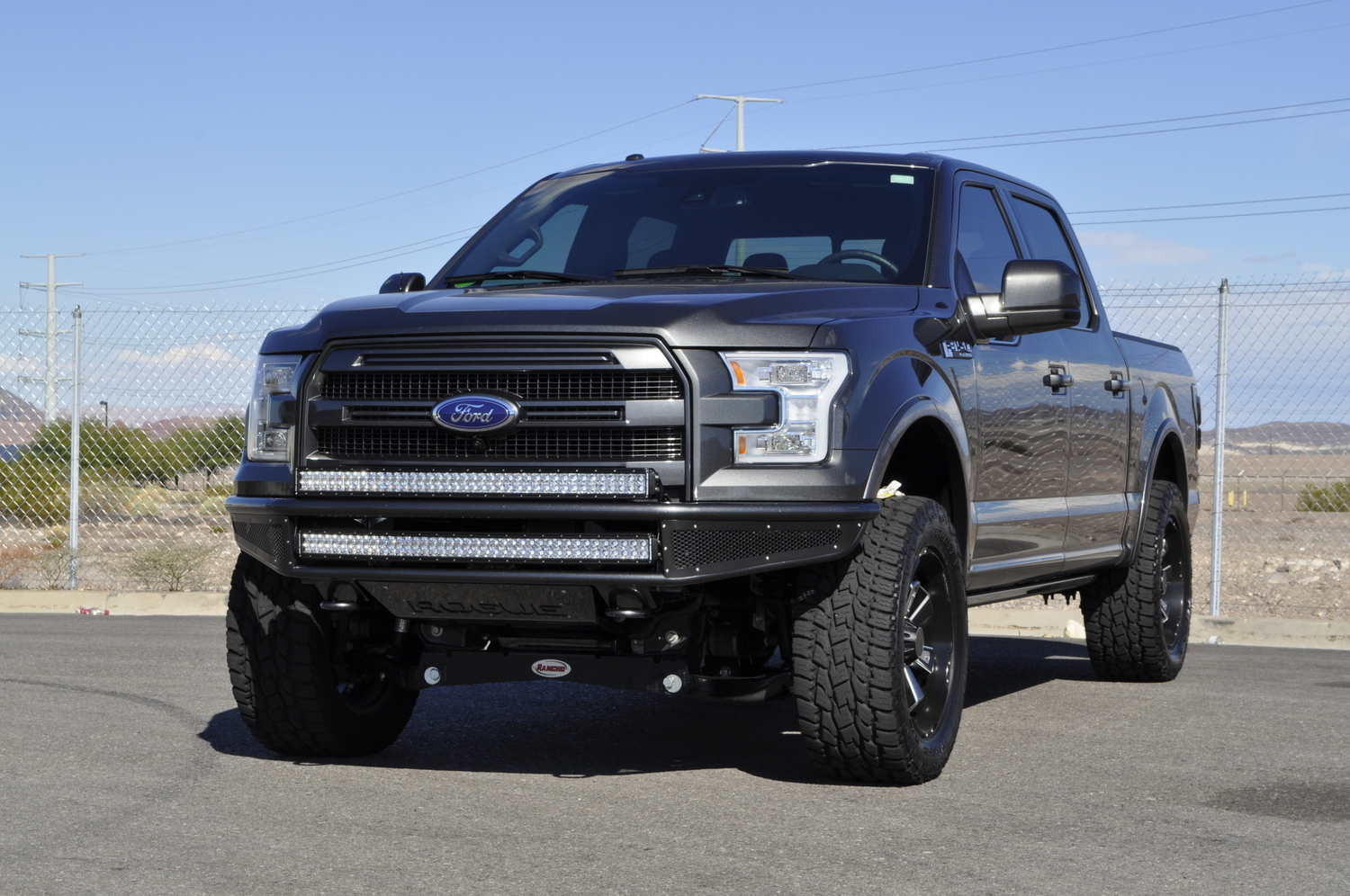 Performance tuned off road suspension for the 2015 current ford f 150s featuring rogue racing upper control arms lower control arms spindles and billet