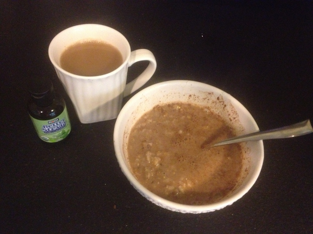Some oatmeal with almond milk, cinnamon and stevia at about 8.