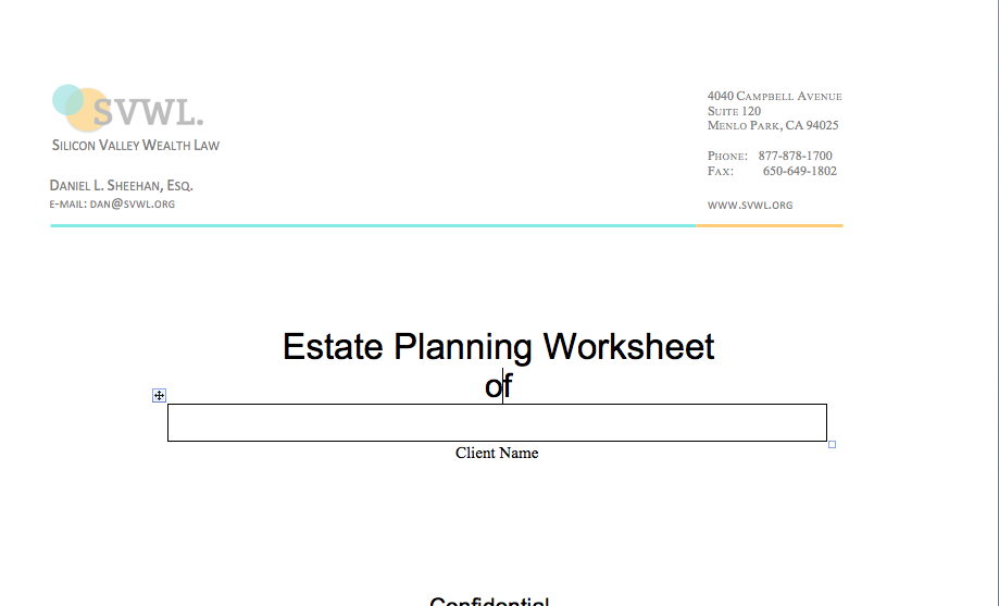 Financial Planning Worksheet