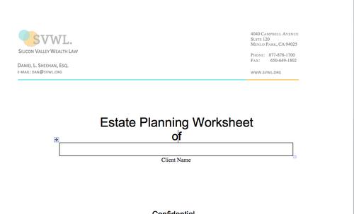 Worksheets Estate Planning Worksheet resources svwl estate planning worksheet