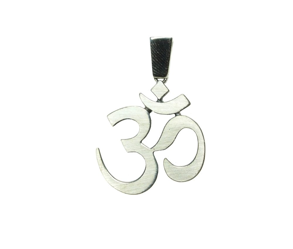 Om Symbol 5mm Round Faceted Genuine Moldavite and Sterling Silver Rhodium Plated Pendant