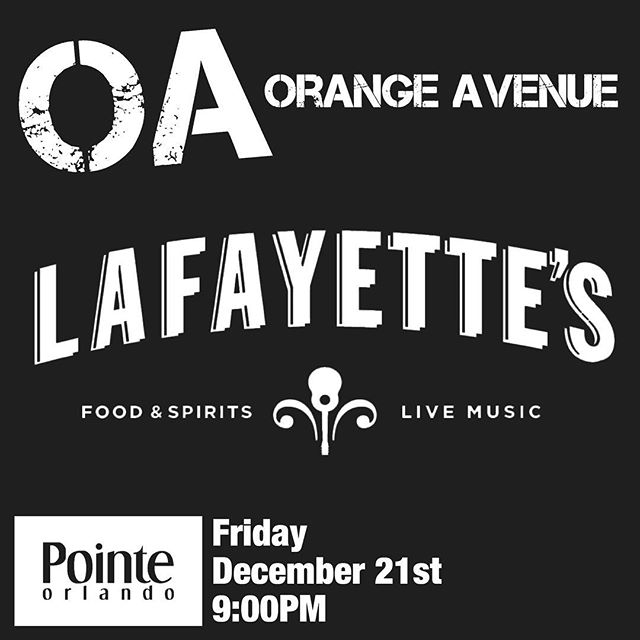 Brand new venue for us this Friday! @lafayettesorlando @pointeorlando
