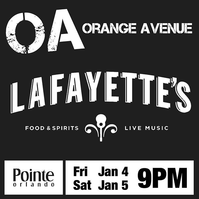 This Friday & Saturday, we're back at #Lafayettes at #PointeOrlando!  @lafayettesorlando @pointeorlando