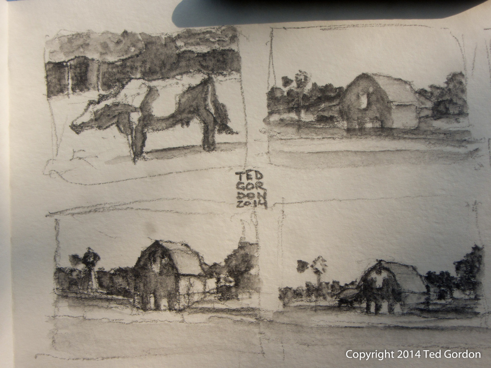 I started out with some graphite thumbnails to warm up at the farm. My favorite was drawing the cow, when she was briefly in position to be drawn.