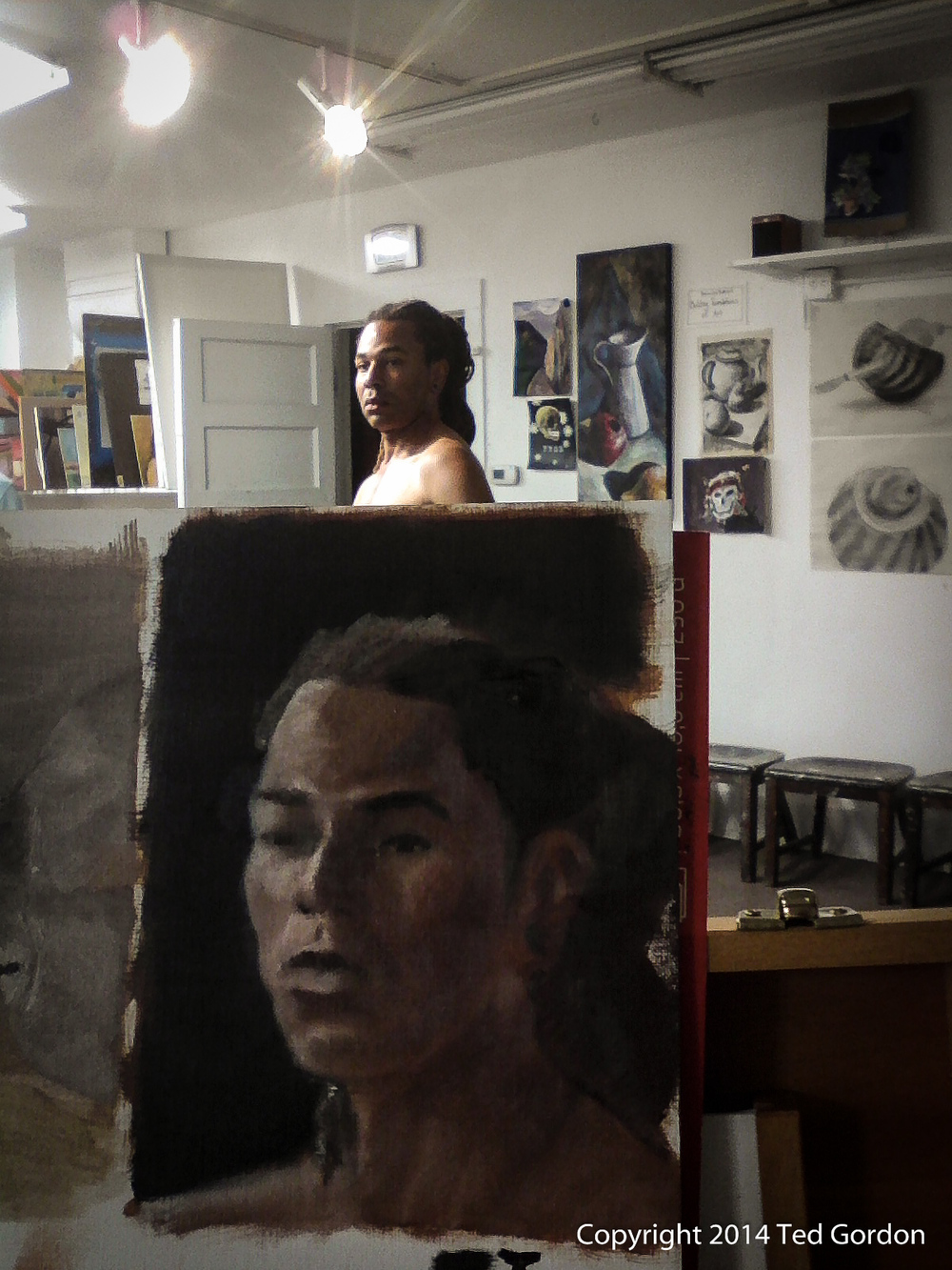 Ted Gordon Oil Painting Portrait Sketch of Dalawn 2014