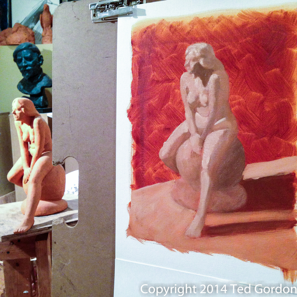 I visited my friend's studio to paint his sculptures. Here's the first pass, laying in the values in burnt sienna.