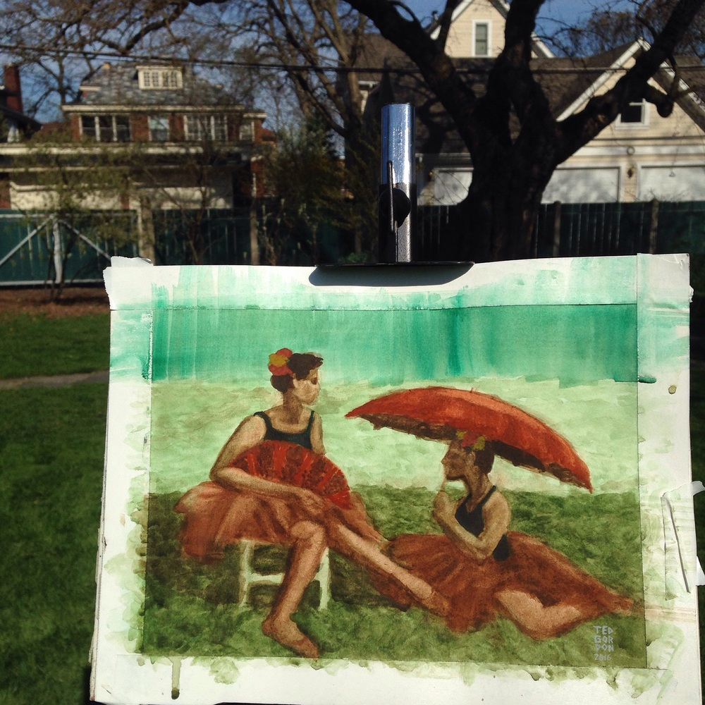 Painted ballerinas in the lawn at Cheney Mansion this afternoon