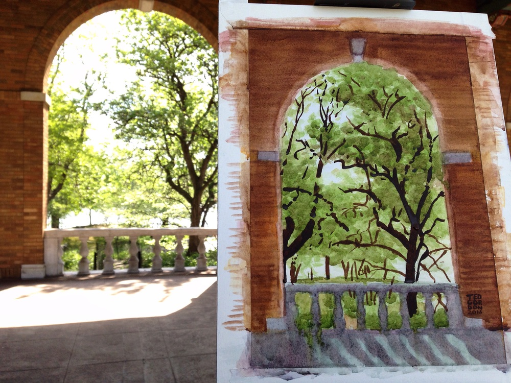 Watercolor plein air painting at Columbus Park