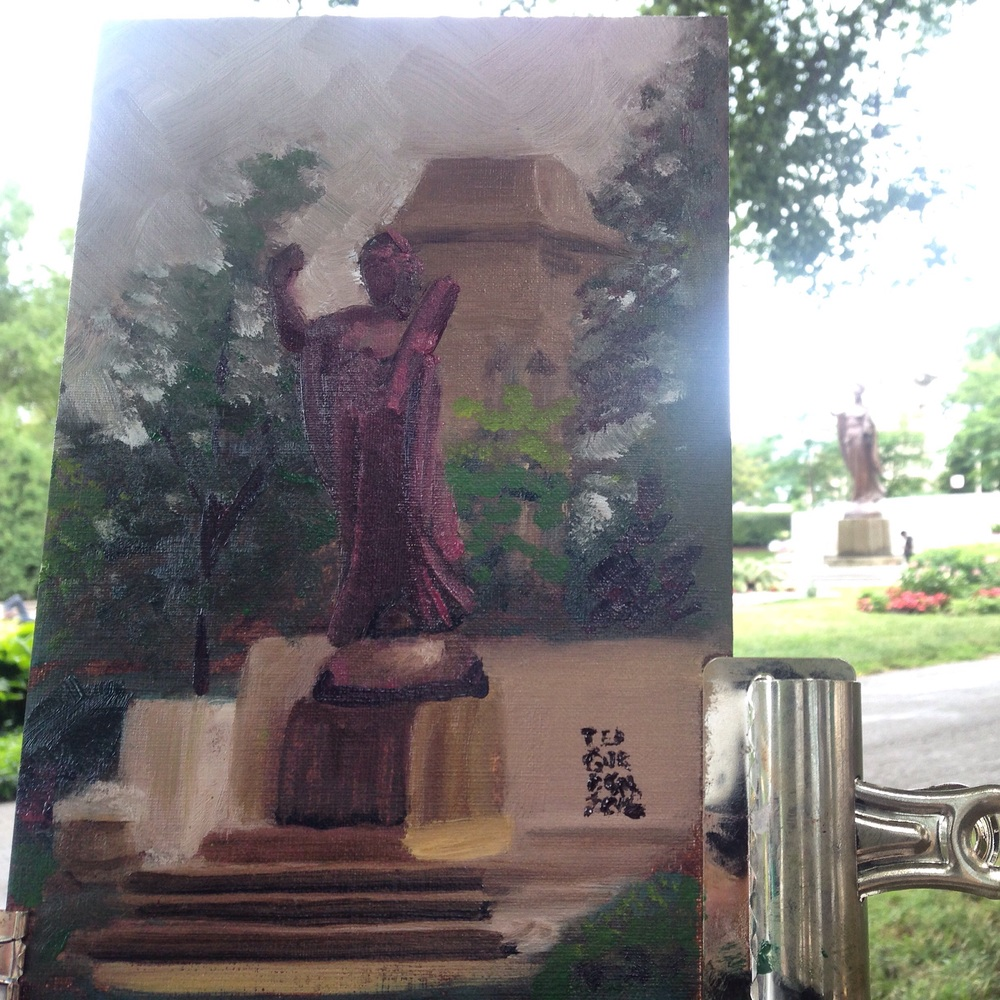 Plein air oil painting by Ted Gordon, Theodore Thomas Memorial, The Spirit of Music Statue, Grant Park, Chicago