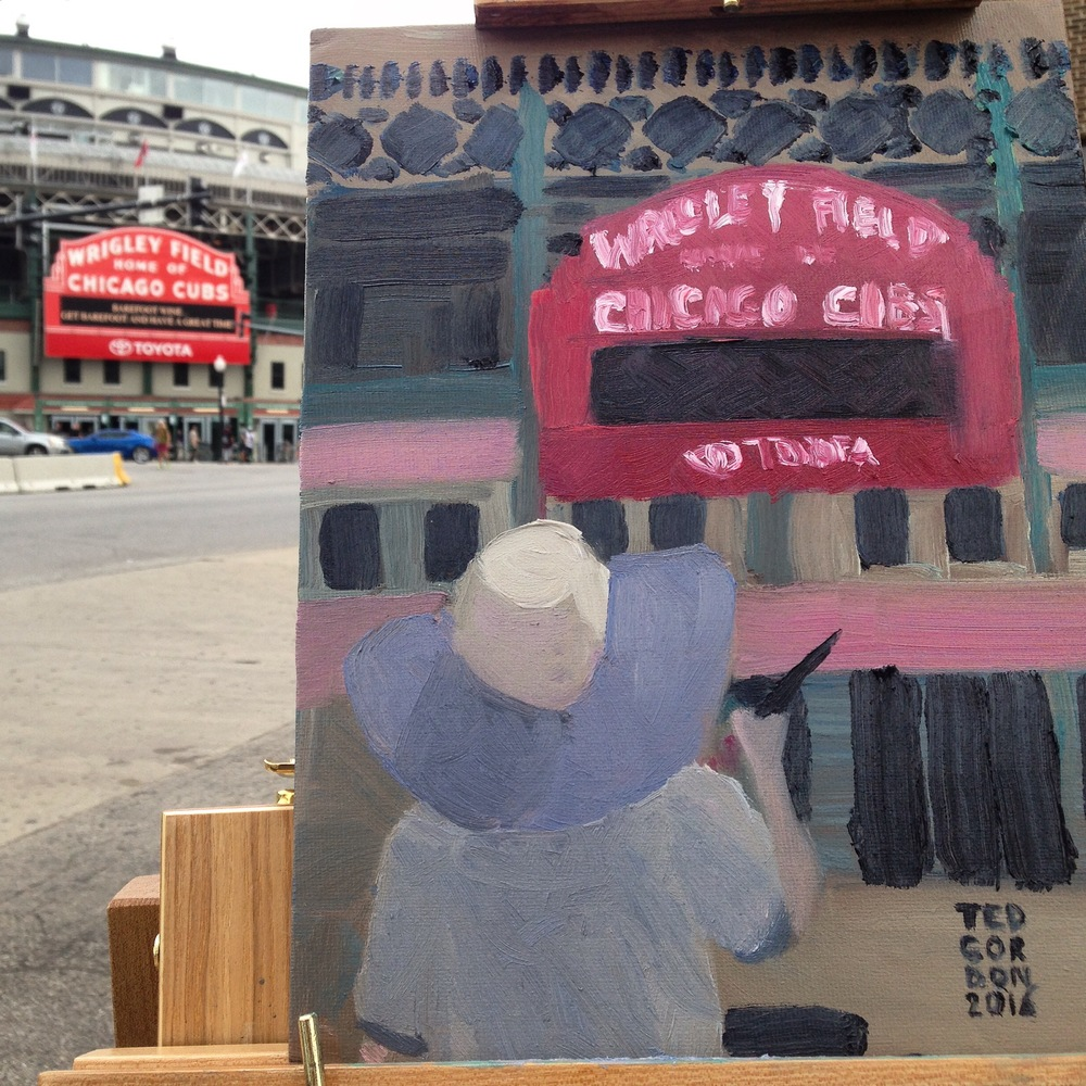 I painted the famous sign at Wrigley Field this morning in oil. Another painter added foreground interest and helpfully masked construction that was going on in the Northwest corner of Addison and Clark St.
