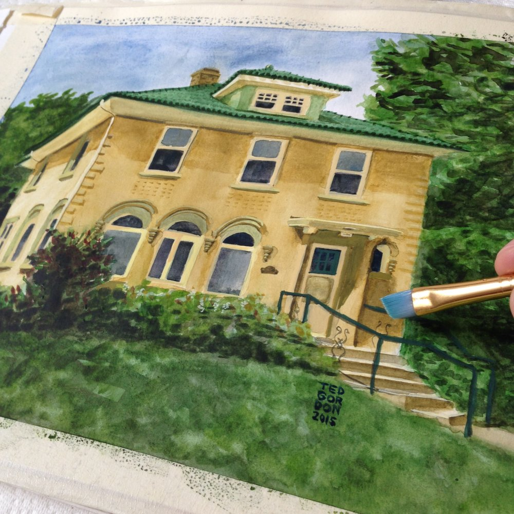 Watercolor House Portrait Painting Being Created by Ted Gordon in Oak Park