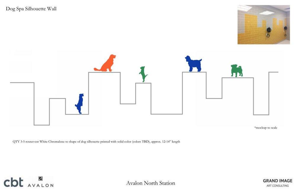 Avalon North Station Dog Spa Silhouette Wall.JPG