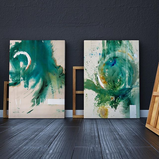 We're all about these @kyle.goderwis.art washy abstracts. Seeing pieces stretched never gets old 🙌🏻🙌🏻