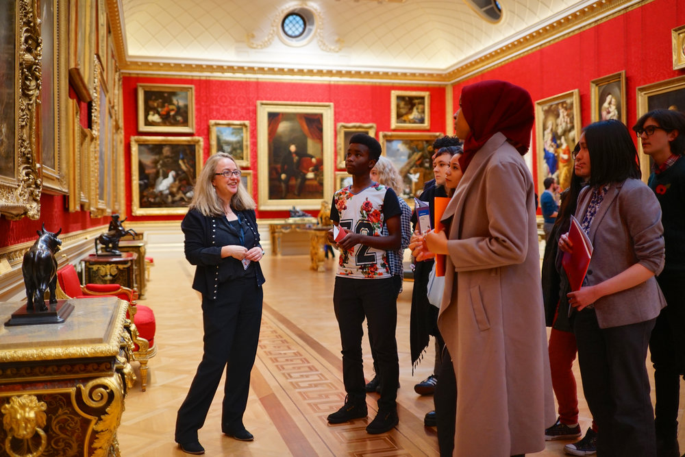 Rose Aidin and fast-track AS students in the Great Gallery at The Wallace Collection