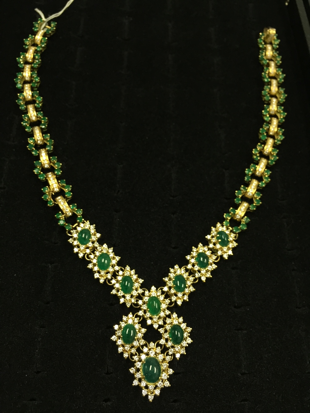 Diamonds & Emeralds 18K Gold Necklace Motek Diamonds Dallas
