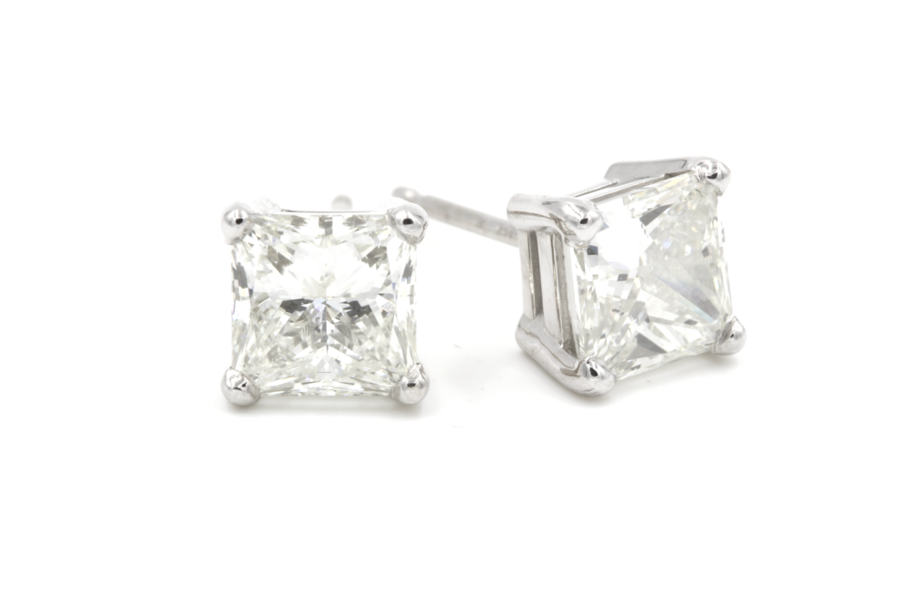 Princess Cut Diamond Stud Earrings - 2.00 ctw