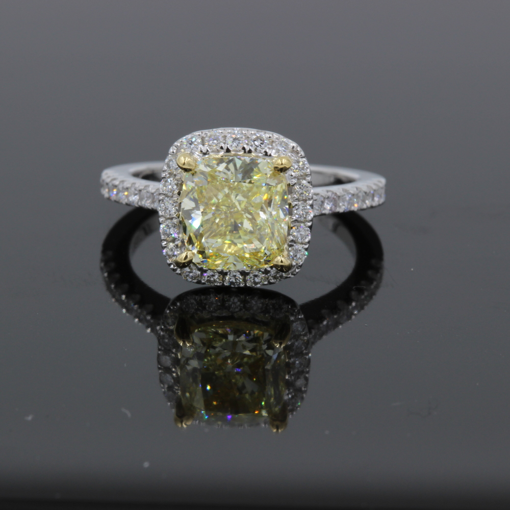 Fancy Yellow Cushion Cut Diamond GIA Motek Diamonds by IDC Dallas TX