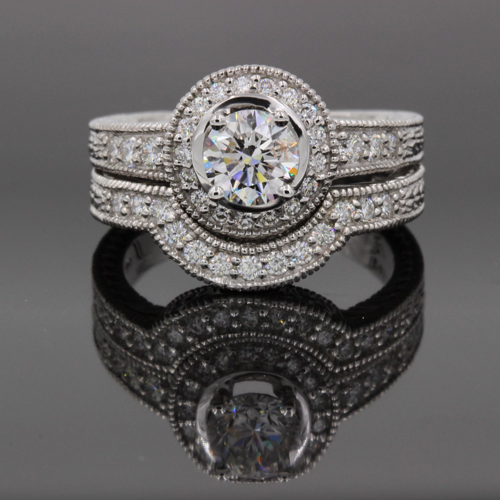 Antique Diamond Engagement Ring & Wedding Band Set Motek Diamonds by IDC Dallas TX