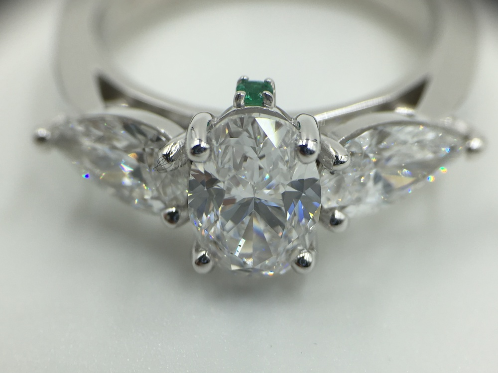 Oval and Pear Diamonds engagement ring - Made by Motek Diamonds by IDC