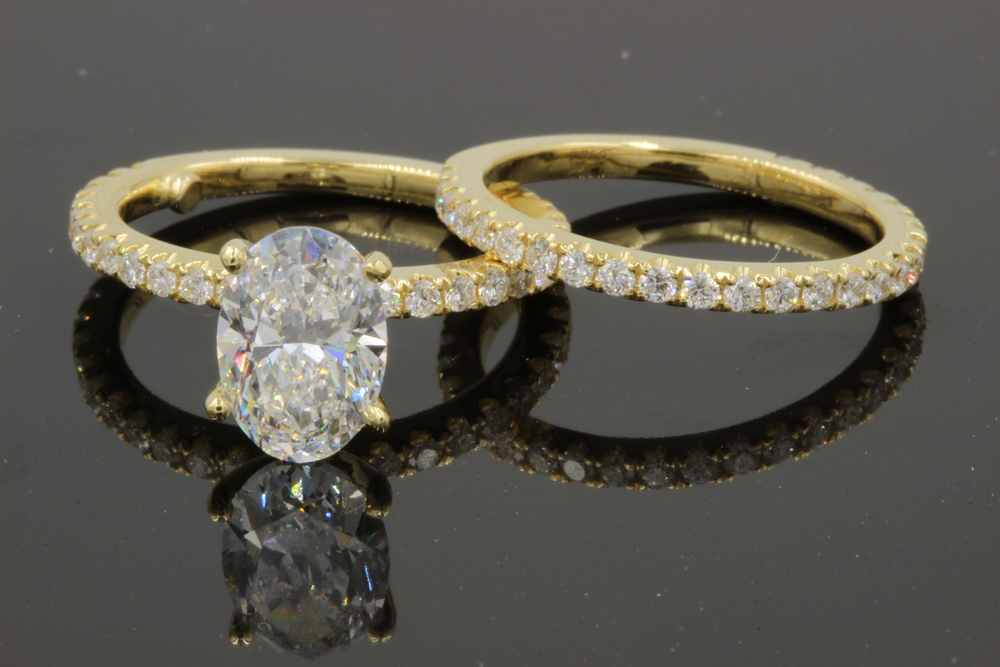 Engagement ring & wedding band set created by Motek Diamonds