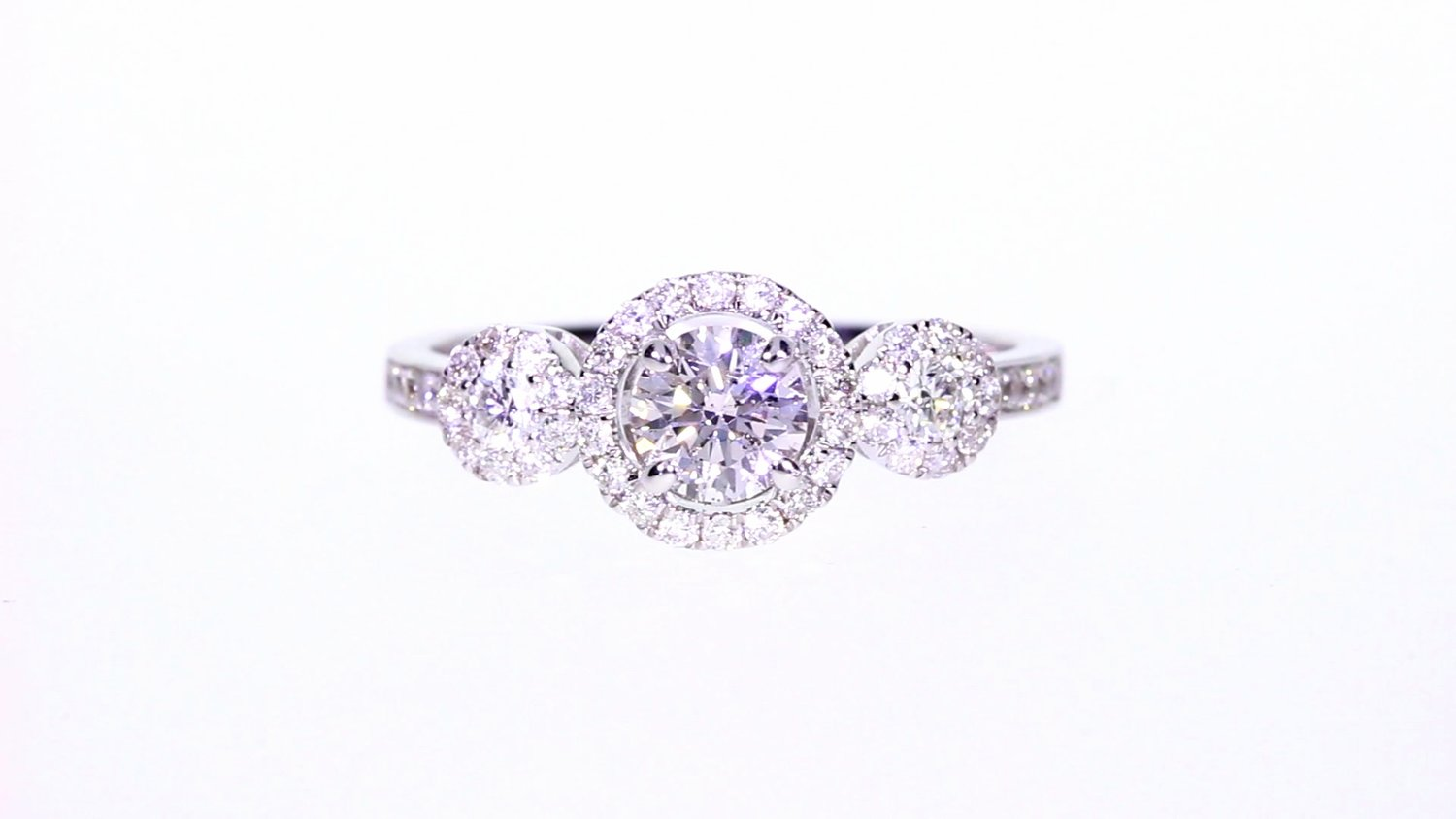 092 Ctw 3stone Halo Round Diamond Engagement Ring In 18k White Gold