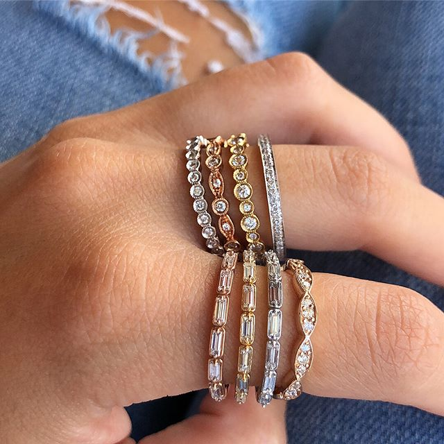 ✨S T A C K A B L E S✨ Wear as a fashion ring for an everyday subtle bling or mix and match any of these to create your signature stack.  18K white / yellow / rose gold and diamonds. . . . . . #rings #ring #diamondrings #diamondring #fashionring #diamond #diamondjewelry #finejewelry #diamondjewelry #jewelry #jewelryaddict #jewelryinspo #chic #style #lifestyle #beautiful #ootd #jewelryoftheday #cute #me #love #stackablerings #stackableband #bands