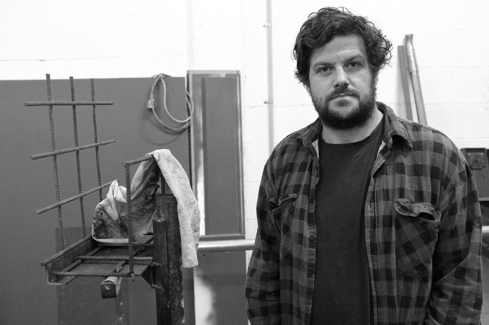 Nicholas Mangan   in his studio, Melbourne, August 2015. Photo: Pedro de Almeida.