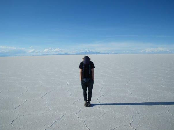 Standing in the sun surrounded by salt, Salar de Uyuni, Bolivia